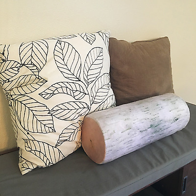 Birch Log Pillow Roll Cushie Cylinder Design Soft Plush Head Neck Cushion