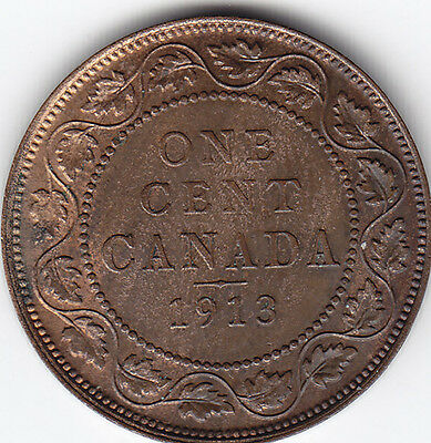 1913 Canada Large One Cent Coin – U N C – Red/Brown