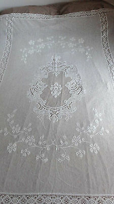 "Antique French Lace Handmade Ecru Cotton Coverlet Twin Size 53""x74"" &18"" Ruffle"