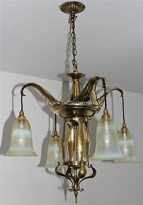 WAS Benson style Arts and Crafts Antique Brass Chandelier Vaseline Glass Shades