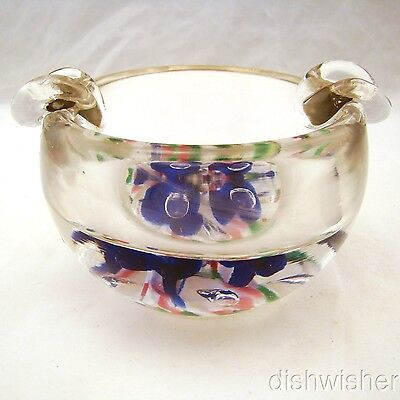 """Bob St. Clair Art Glass Ashtray/Paperweight Blue Flowers 4 5/8"""" x 2 5/8"""" EXC"""