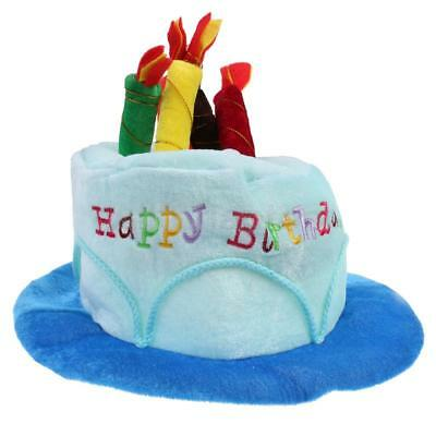 Happy Birthday Plush Party Cake Hat With Candles Fancy Dress Adults Kids Gift