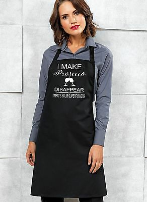 I Make Prosecco Disappear ~ Ladies Funny Apron, BBQ, Kitchen, Drinking, Cooking