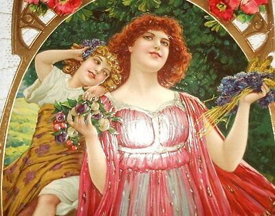 Large 1900 Victorian Embossed Die Cut Adv Sign Lady & Child New Old Stock