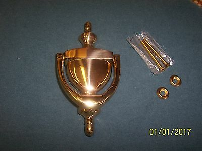 "Door Knocker Solid Brass Nice With Hardware Used Shinny Brass 6"" Long Vintage"
