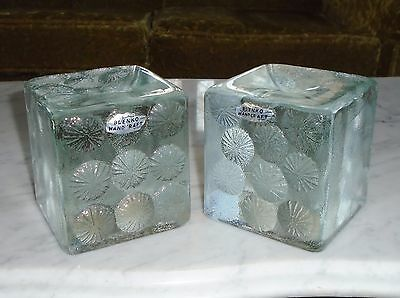 2 Vintage 5 1/2pound Blenko Crystal Clear Glass Paperweight Bookend Cube Blocks