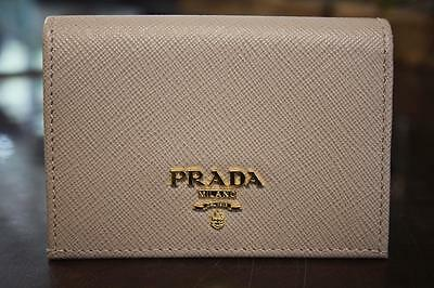 Genuine PRADA Saffiano Leather Bifold Card Case Wallet