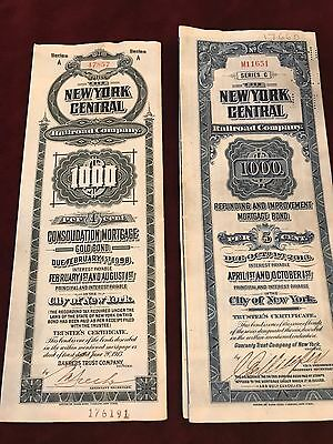 Ny Central Railroad Bonds W/ Cupons Lot Of 2 With Antique Leather Wallet
