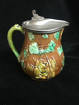 Vintage Majolica Pottery Jug With Lid