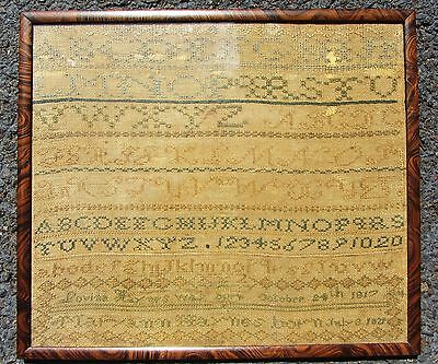 Rare Antique Early American Child's Needlework Sampler Dated Genealogy? Dates