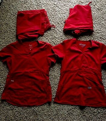Women's Red Scrubs Size S/XS (2 FREE TOPS INCLUDED)