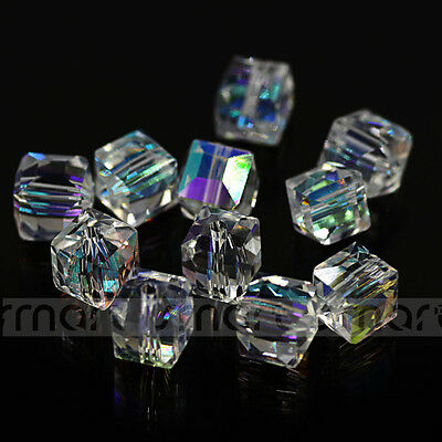 Plating White Transparent Loose Beads Synthetic Crystal Square Gemstone Beads