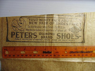 Peters Diamond Brand Shoes Ad On Paper Bag Rare Early 1900s
