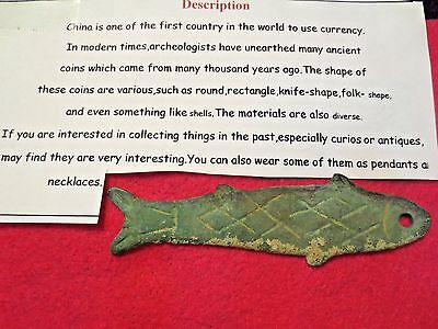 Vintage Chinese Bronze Fish Coin Currency Pendant Amulet Charm Collectible (#2)