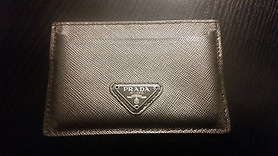 Authentic Prada Saffiano Leather Card Case ID Holder Silver Italy Genuine 184