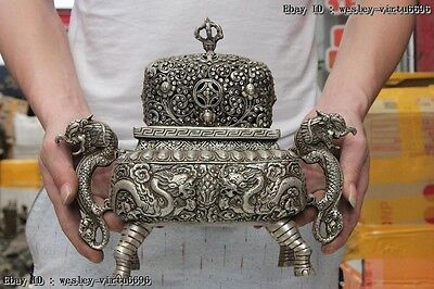 Tibet Buddhism White Copper silver Two Dragon Play Bead incense burner Censer