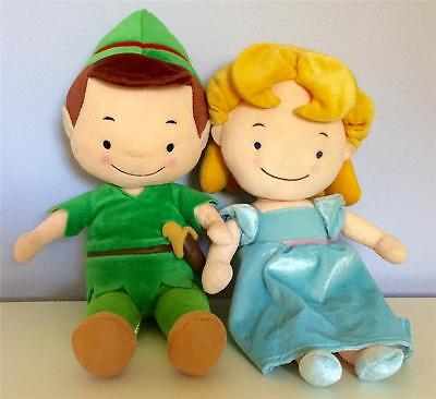 "PETER PAN and WENDY Stuffed Plush Dolls Soft Toys Baby Infant Set 14"" DISNEY EUC"