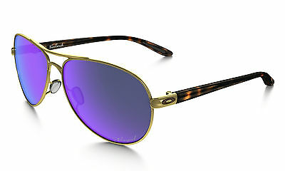 OAKLEY Feedback Polished Gold Polarized Violet Iridium SUNGLASSES OO4079-18