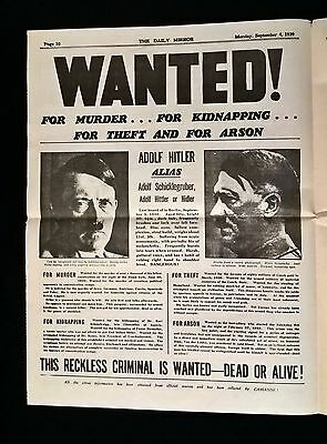 """""""Hitler Wanted"""", Page 10 of The Daily Mirror, Monday, September 4. 1939."""