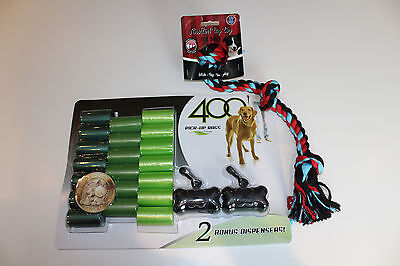 Dog Waste Poop Clean up Bags Bone Dispenser Leash Clip 400 Count+Chew Rope 3Knot