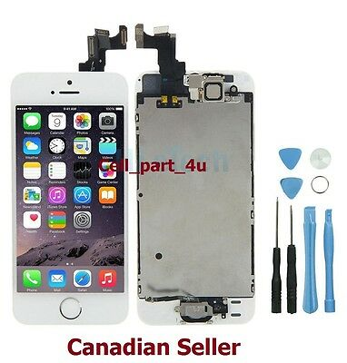 New White LCD Lens Touch Screen Display Digitizer For iPhone 5S With Home Button