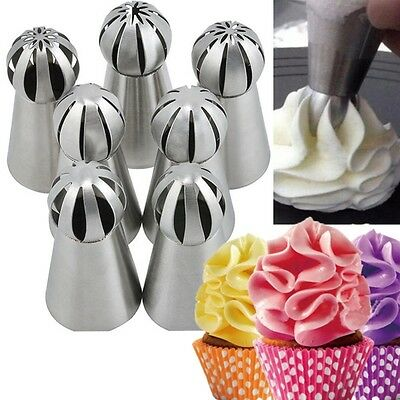 7x Sphere Ball Tip Nozzles Icing Piping Russian Nozzle DIY for Cake Baking Tool