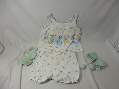 Set of Vintage 1940s Handmade Blue & Yellow Top & Bloomers Pom Pom Booties