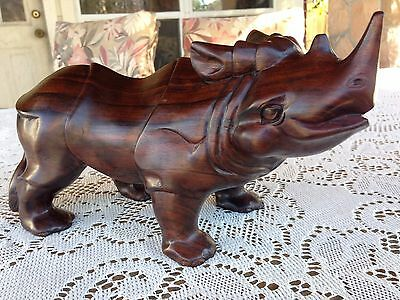 Large Carved Wooden African Rhinoceros Figure African Art