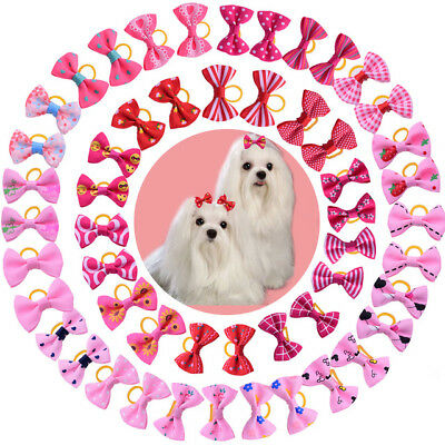 1-35 Hair Bows Dog Cat Pet Rubber Band Grooming Accessories Mixed Pink & Red U.K