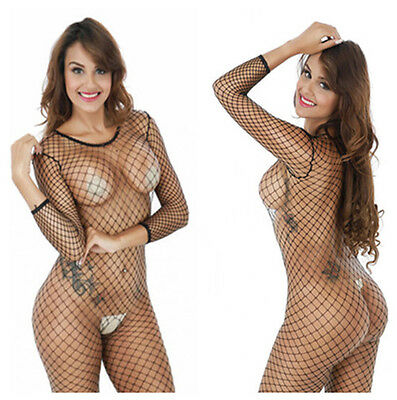 Free Size Ladies Nylon Spandex Fishnet Body Stocking Nets lingerie Sex Jumpsuit