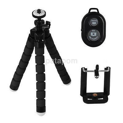 Mini Flexible Tripod Stand + Phone Holder + Remote Control for iPhone 1pc UK