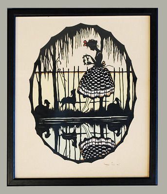 Wall art-stunning vintage/antique 1930's paper cutting picture of girl antique