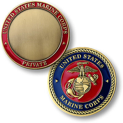 Marine Private Challenge Coin Pvt E1 US Marine Corps Rank USMC Globe Anchor Seal