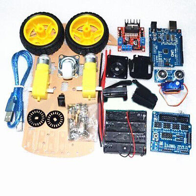 Smart Car Tracking Motor Smart Robot Auto Chassis Kit 2WD Ultrasonic Arduino