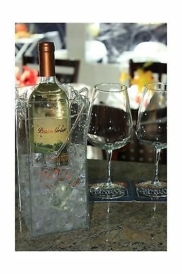 Ice Bag Collapsible Wine Cooler Bag Clear set of 1 New