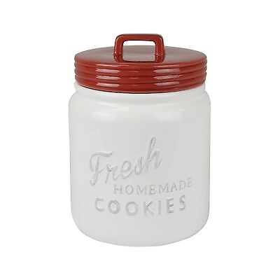 DII Everyday Classic Kitchen Design Ceramic Cookie Jar With Lid - Red New