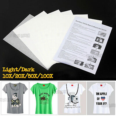 10/20/50/100 sheets A4 Iron Heat Transfer Paper For Dark Light Cotton T-Shirt