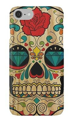 New Wood Sugar Skull For iPhone 5c 5s 5 6 6s 6s+ 7 7+ Hard Case Cover