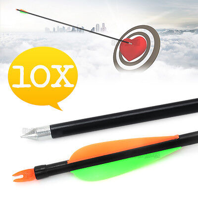 "10X 32"" FiberGlass Arrows 15-80lb Compound Bow Fiber Glass For Archery Hunting"
