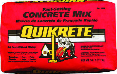 Quikrete 1004-50 Fast Setting General Purpose Concrete Mix, 50 lb Bag, Gray to G