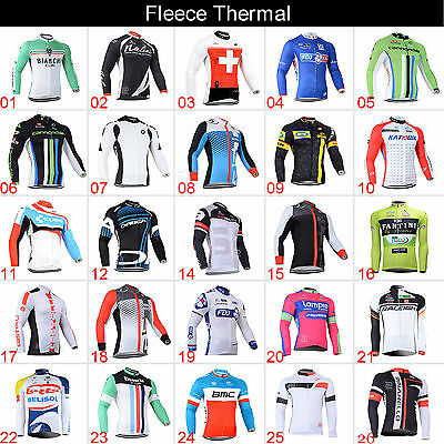 New Mens Cycling Long Sleeve Jersey Top Fleece Thermal Winter Road Bike Clothing