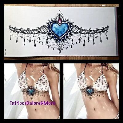 Blue Heart Under The Breast Temporary Tattoo, Henna, Hippy, Boho Design