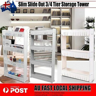 Slim Slide Out 3/4 Tier Storage Tower with Wheels Rolling Castor Kitchen Trolley