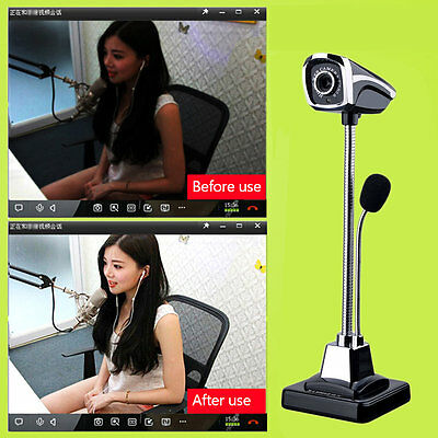 M800 USB 2.0 Wired Webcams PC Laptop Camera LED Night Vision With Microphone AU