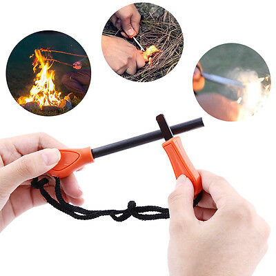Survival Flint Fire Starter Lighter Stick Rod For Military Camping Fishing ZY