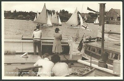 Oulton Broad Suffolk Lowestoft Greetings c1930s Printed Postcard