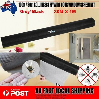 New 100ft / 30m ROLL INSECT FLYWIRE DOOR WINDOW NET MESH FLYSCREEN Black/Grey AU