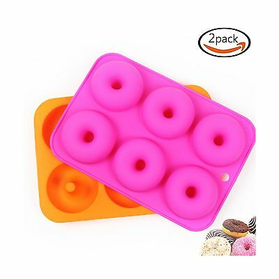 LoveS (2 Pcs) 6 Silicone Cake Molds Donut Molds Doughnut Chocolate Soap C... New