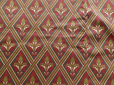 Vintage 1980's Laura Ashley Heavy Cotton Interiors Fabric 'Albert' Red & Green