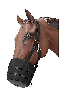 Tough 1 Poly Nylon Grazing Muzzle with Halter Black New